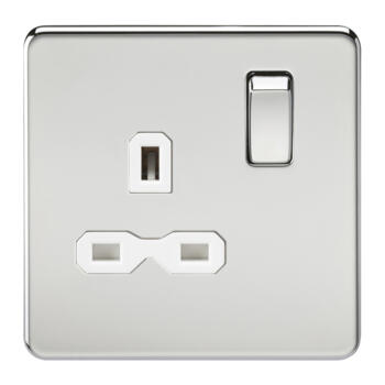 Screwless Polished Chrome Single Switched Socket - With White Interior