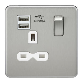 Screwless Brushed Chrome Single Switched Socket With Dual USB Charger - With White Interior