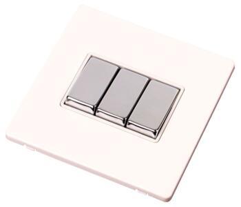 Screwless White & Chrome Light Switch - Triple - 3 Gang 2 Way