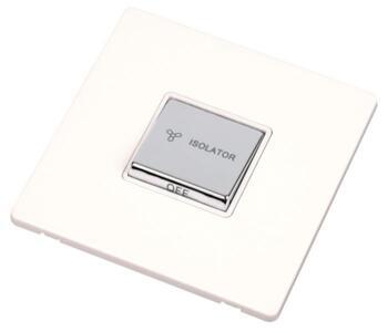 Screwless White & Chrome Fan Isolator Switch 10A  - Triple Pole - 3 Pole