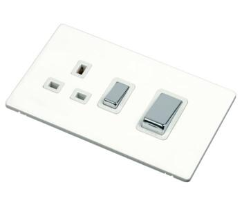 Screwless White & Chrome Cooker Switch & Socket - Without Neon