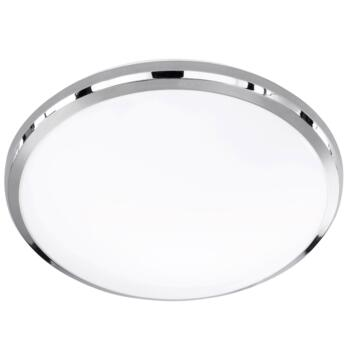 Chrome/White Plastic Round Ceiling Lights - LED Flush - 31cm