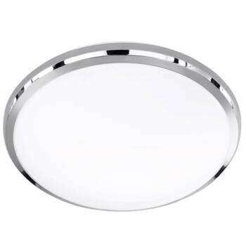 Chrome/White Plastic Round Ceiling Lights - LED Flush - 31cm