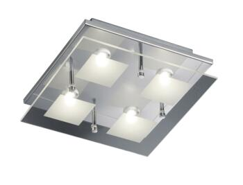 Clear/Satinated Glass Square Ceiling Lights - 4 Light