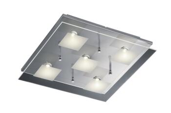 Clear/Satinated Glass Square Ceiling Lights - 5 Light