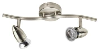 Pressed Steel LED Bar Lights - Twin - Brushed Nickel