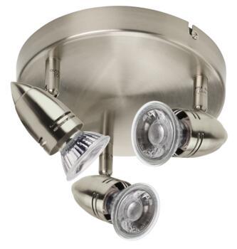 Pressed Steel LED Bar Lights - Three - Brushed Nickel