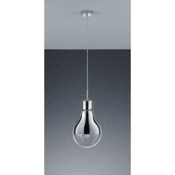 280mm Chrome & Glass Light Bulb Style Pendant - Fitting