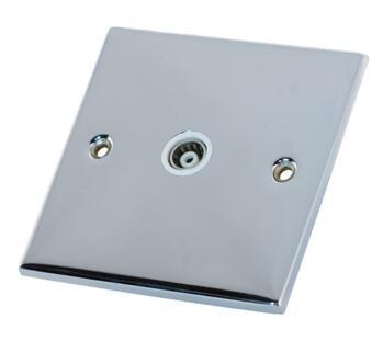 Slimline 1 Gang Single TV Socket - P/Chrome - With White Interior