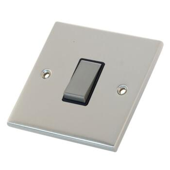 Slimline 1 Gang 2 Way Light Switch - Satin Chrome - With Black Interior