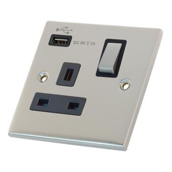 Slimline USB Single Socket - Satin Chrome - With Black Interior