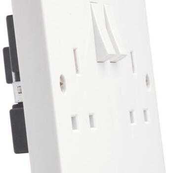 White Double Switched Socket - 13a