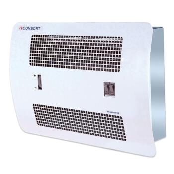 consort recessed wall mounted fan heater white 2kw. Black Bedroom Furniture Sets. Home Design Ideas