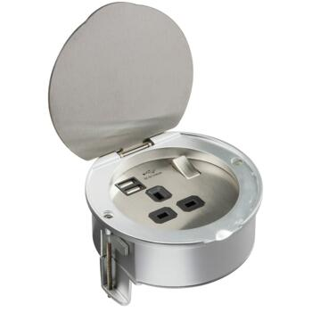 Worktop 1 Gang 13A Kitchen Socket With USB - Stainless Steel